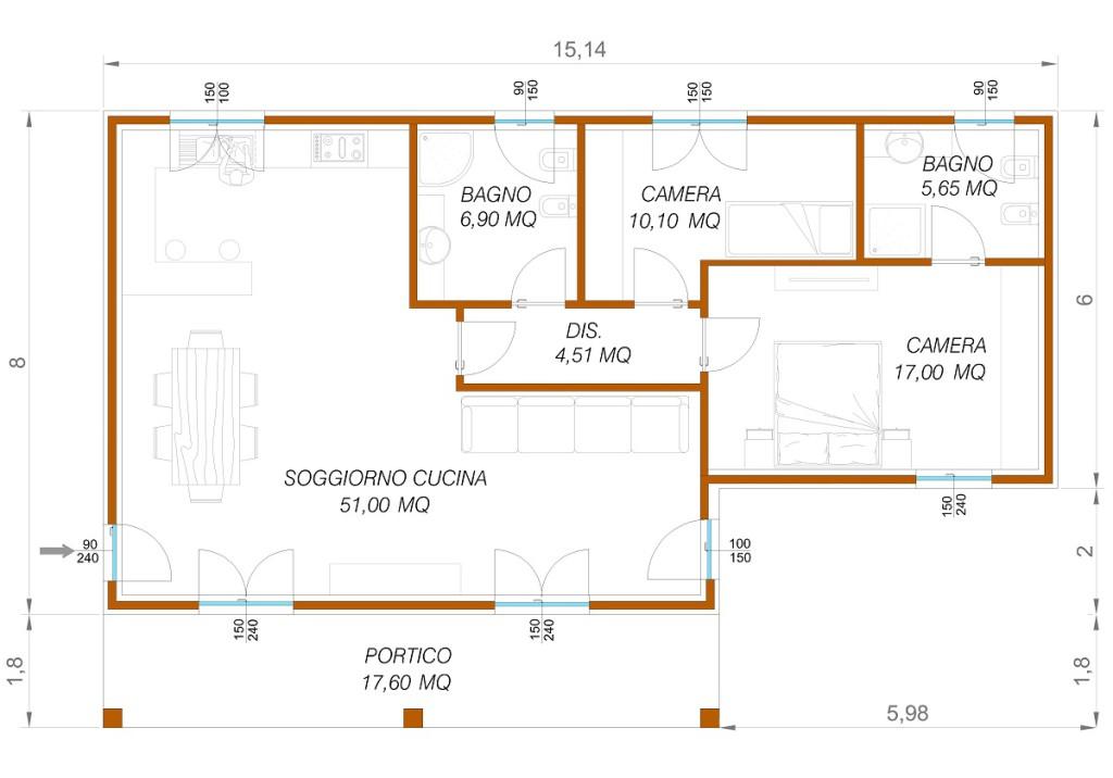 Progetto 65 mq top low cost mq con solo euro al mq with for Planimetrie piano piano gratuito